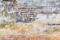 Aged street grunge wall and floor background, texture Royalty Free Stock Photo