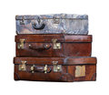 Aged suitcases old leather isolated with clipping path included Royalty Free Stock Images