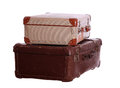 Aged suitcases on white background Royalty Free Stock Image