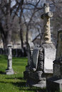 Aged tombstones on cemetery of st boniface cathedral winnipeg canada Stock Photos