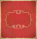 Aged vintage polka dot frame with ornament Royalty Free Stock Images