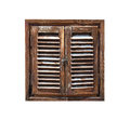 Aged weathered wooden window shutters Royalty Free Stock Photo