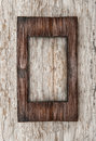 Aged wooden frame on the old wood Royalty Free Stock Photo