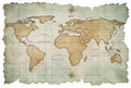 Aged world map isolated on white Stock Photo