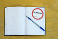 Agenda deadline hard cover with blank page and sign Royalty Free Stock Photo