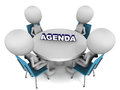 Agenda men sitting on round table with text on it white background Stock Images