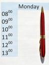 Agenda pen on the empty Royalty Free Stock Photos