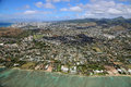 Agglomeration of honolulu view from helicopter oahu hawaii Stock Photos
