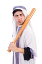 Aggressive arab man with baseball bat on white Stock Image