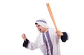 Aggressive arab man with baseball bat on white Royalty Free Stock Photo