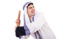 Aggressive arab man with baseball bat on white Royalty Free Stock Image
