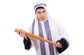 Aggressive arab man with baseball bat on white Royalty Free Stock Images