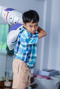 An aggressive asian child. Boy looking furious. Negative human f Royalty Free Stock Photo