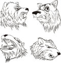 Aggressive bear heads set of black and white vector tattoo designs Stock Photography