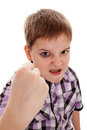 The aggressive boy the teenager shakes a fist black eye is picture is drawn cruel treatment with the child was not actually Royalty Free Stock Images