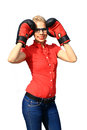 Aggressive business woman with boxing gloves Royalty Free Stock Photos