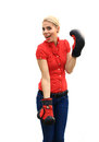 Aggressive business woman with boxing gloves Stock Photography