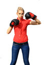 Aggressive business woman with boxing gloves Royalty Free Stock Image