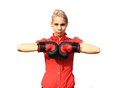 Aggressive business woman with boxing gloves Stock Images