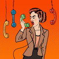 Aggressive Business Woman Screaming into the Phone. Pop Art