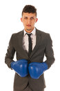 Aggressive businessman with boxing gloves Stock Photography