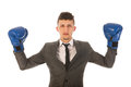 Aggressive businessman with boxing gloves Stock Images