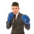 Aggressive businessman with boxing gloves Royalty Free Stock Photo