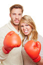 Aggressive couple with boxing Stock Image