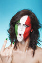 Aggressive italian supporter for fifa gesturing beautiful and world cup brazil Stock Image