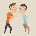 Aggressive man threatening frightened man in anger.