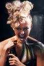 Aggressive punk woman screaming at camera Royalty Free Stock Photo