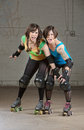 Aggressive Roller Derby Skaters Royalty Free Stock Photo