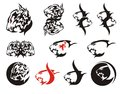 Aggressive tribal lion head symbols