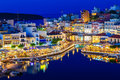 Aghios Nikolaos night view - picturesque town in the eastern of island Crete built on northwest side of the peaceful bay Royalty Free Stock Photo