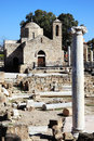 Agia kyriaki church cyprus the th century of which in turns stands in the ruins of an earlier christian byzantine basilica paphos Stock Images