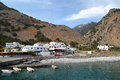 AGIA ROUMELI, CRETE - MAY 24, 2014: The entrance or exit point to the Samaria Gorge hike