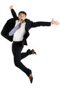 Agile businessman leaping stylish middle aged in the air for joy isolated on white Royalty Free Stock Image