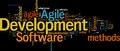 Agile development management software methods dense word cloud Stock Photos