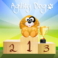 Agility dog nice illustration of the podium with the cup Stock Photos
