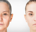 Aging process rejuvenation anti aging skin procedures old and young concept Royalty Free Stock Photo