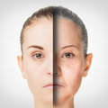 Aging process rejuvenation anti aging skin procedures old and young concept Royalty Free Stock Photos