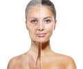 Aging and skincare concept face skin faces of young old women Stock Photos