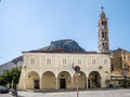 Agios georgios church nafplio the is the cathedral of with its bell tower and arches on the yellow facade greece Royalty Free Stock Photography