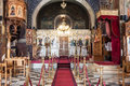 Agios georgios nafplio the byzantine altar inside saint george cathedral metropolis in downtown nafplion greece with a chandelier Royalty Free Stock Photo