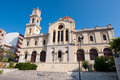 The Agios Minas Cathedral facade in Heraklion on the island of Crete, Greece. Royalty Free Stock Photo