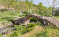 Agios minas traditional stone bridge epirus greece near dilofo Stock Photo