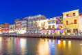 Agios nikolaos city night crete greece Royalty Free Stock Photo