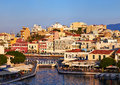 Agios nikolaos quay embankment at evening in crete greece Royalty Free Stock Photography