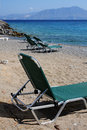Agios nikolaos sandy beach and sea Royalty Free Stock Photo