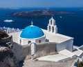 Agiou mina church thira santorini the blue dome and bell tower of the high above the sea at fira town cyclades islands greek Stock Image